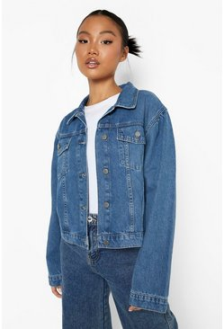 Mid blue Petite Puff Sleeve Denim Jacket