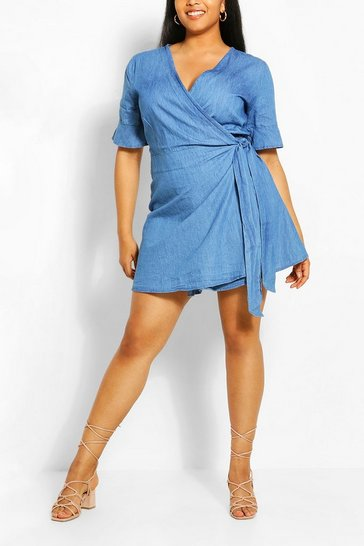 Blue Plus Chambray Wrap Tie Skater Dress