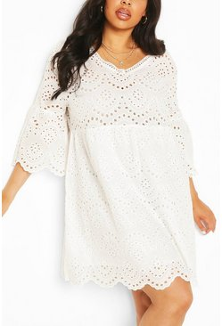 White Plus Broderie Anglaise V-Neck Smock Dress