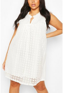 White Plus Broderie Anglaise Shift Dress