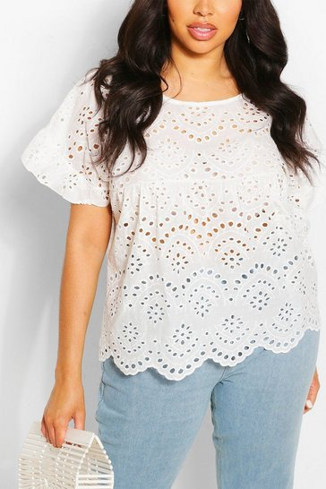 White Plus Broderie Anglaise Smock Top