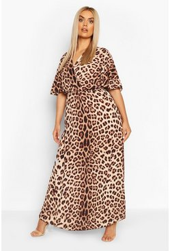 Brown Plus Leopard Print Wrap Angel Sleeve Maxi Dress