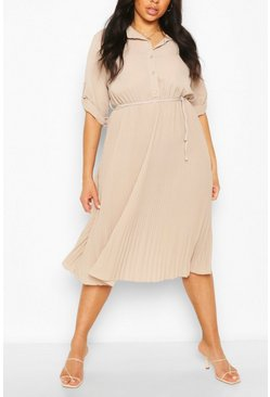Stone Plus Pleated Tie Detail Midi Shirt Dress