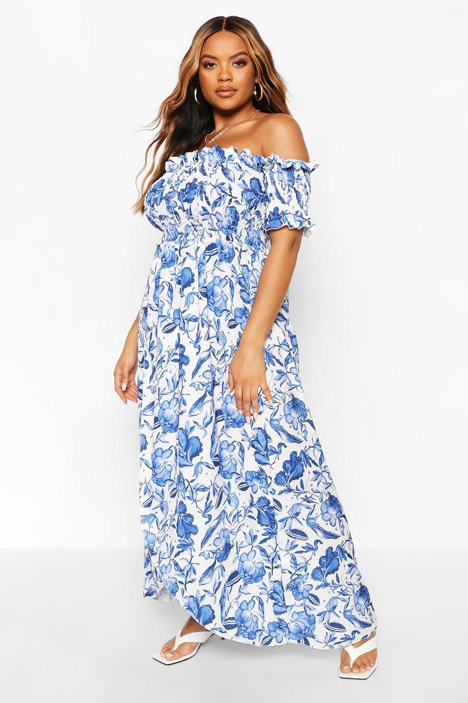Plus Floral Off The Shoulder Maxi Dress 2