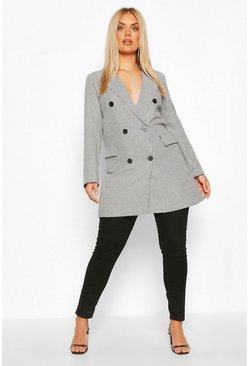 Black Plus Houndstooth Check Longline Blazer