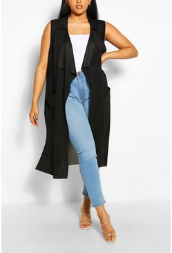 Black Plus Sleeveless Waterfall Mesh Back Duster