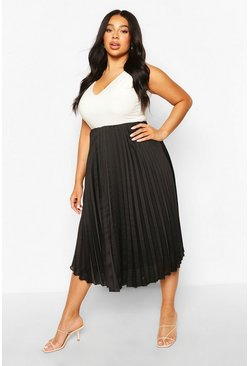 Black Plus Pleated Satin Midi Skirt