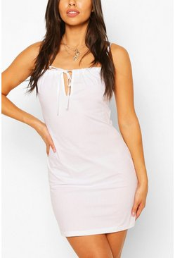 White Petite Poplin Tie Detail Mini Dress