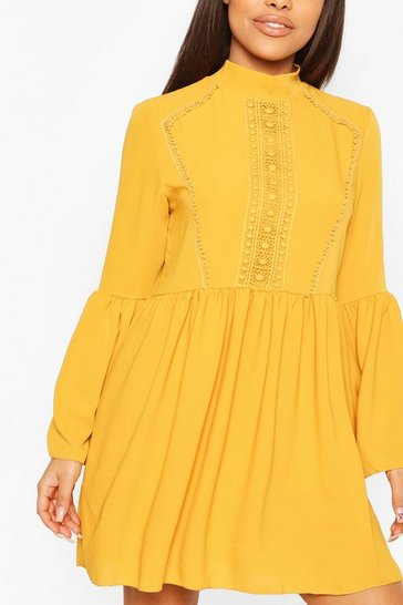 Mustard Petite Crochet Detail Smock Dress