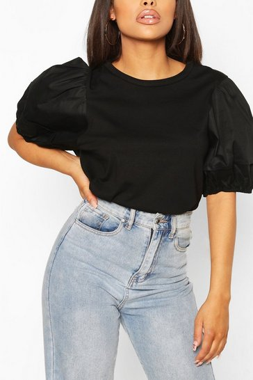 Black Petite T-Shirt With Woven Volume Sleeve
