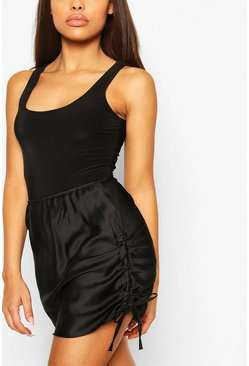 Black Petite Satin Ruched Mini Skirt