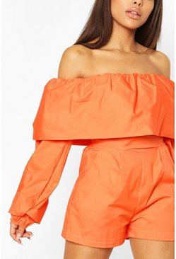 Orange Petite Cotton Poplin Volume Sleeve Romper