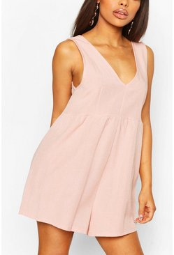 Peach Petite V Neck Linen Look Playsuit