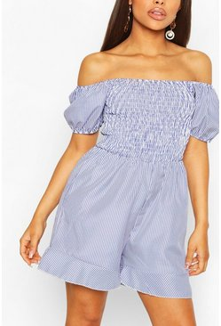 Blue Petite Pin Stripe Shirred Top Frill Hem Romper