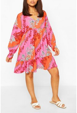 Pink Petite Floral Long Sleeve Smock Dress