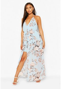 Blue Petite Floral Maxi Dress
