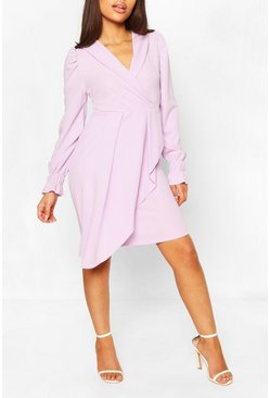 Lilac Petite Wrap Front Volume Sleeve Blazer Dress