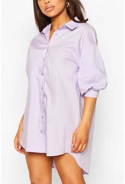 Lilac Petite Volume Sleeve Cotton Poplin Shirt Dress