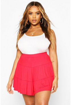 Red Plus Jersey Tiered Flippy Shorts