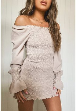 Stone Petite Volume Sleeve Shirred Mini Dress