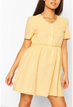 Mustard Petite Linen Button Through Smock Dress