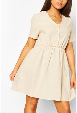 Stone Petite Linen Button Through Smock Dress