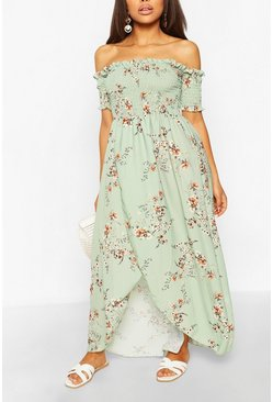 Sage Petite Floral Shirred Wrap Front Maxi Dress