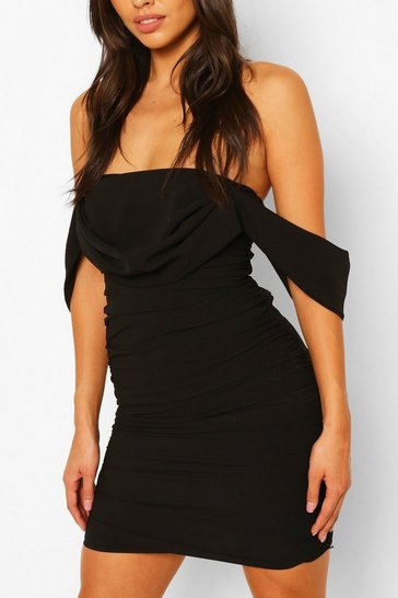 Black Petite Ruched Bardot Dress