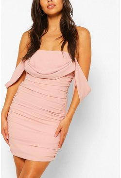 Rose Petite Ruched Bardot Dress