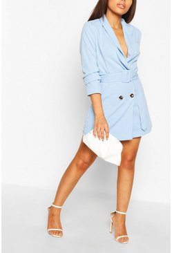 Blue Petite Belted Ruched Blazer Dress