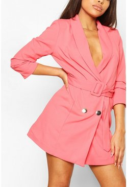 Coral Petite Belted Ruched Blazer Dress