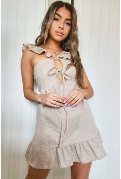 Stone Petite Linen Look Tie Front Frill Sleeve Mini Dress