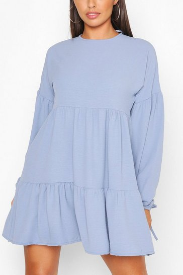 Aqua Petite Tiered Balloon Sleeve Smock Dress