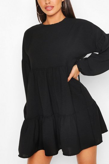 Black Petite Tiered Balloon Sleeve Smock Dress