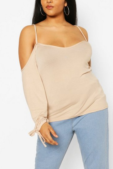 Stone Plus Cold Shoulder Tie Sleeve Top