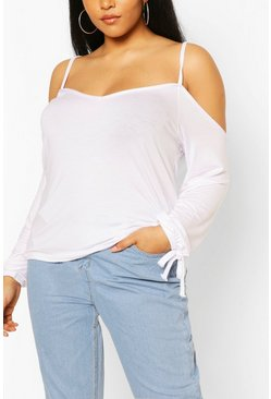 White Plus Cold Shoulder Tie Sleeve Top