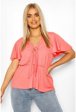 Coral Plus Tie Front Angel Sleeve Blouse