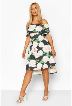 Black Plus Floral Off Shoulder Dipped Hem Midi Dress