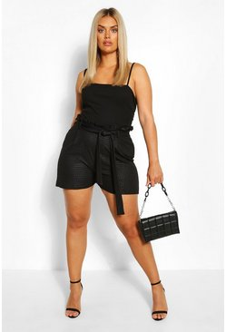 Black Plus Croc Coated Paperbag Skort
