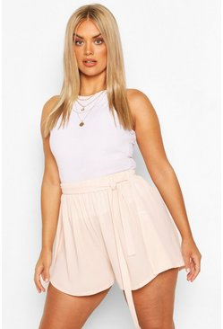 Blush Plus Woven Belted Tailored Shorts