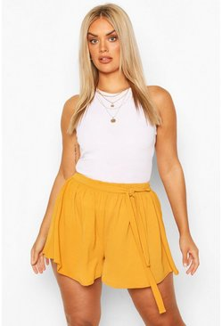 Mustard Plus Woven Belted Tailored Shorts