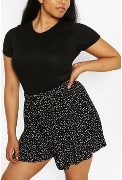 Black Plus Jersey Star Print Flippy Shorts