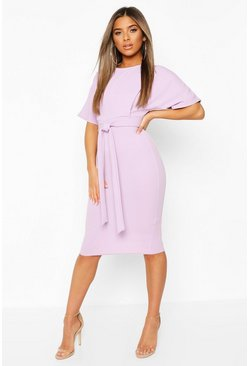 Lilac Petite Tie Waist Formal Wiggle Midi Dress