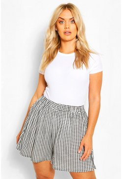 Black Plus Jersey Gingham Flippy Short