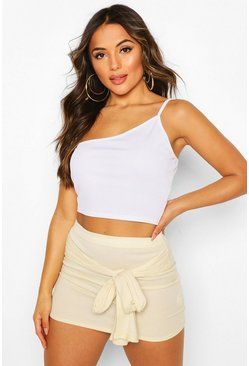 Lemon Petite Ribbed Tie Front Mini Skirt