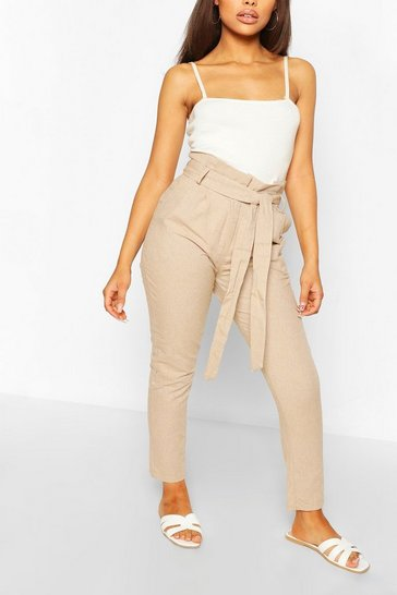 Stone Petite Tailored Linen Trouser