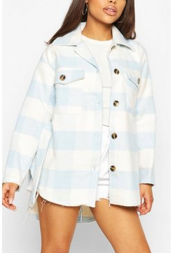 Blue Petite Check Belted Wool Look Shirt Jacket