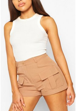 Rust Petite Utility Pocket Shorts