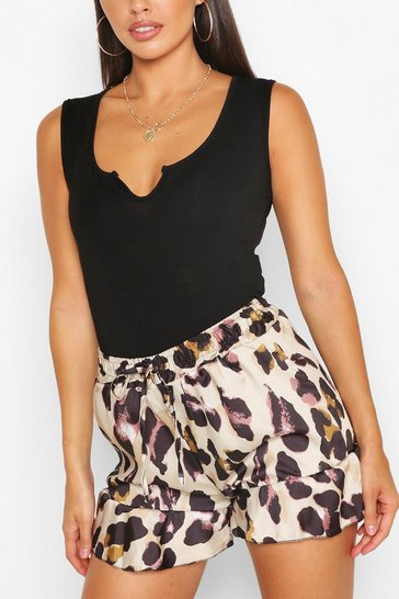 Brown Petite Leopard Print Flippy Shorts
