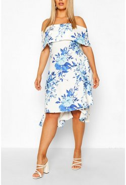Blue Plus Floral Bardot Dipped Hem Skater Dress